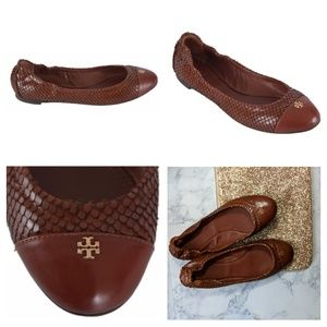 Tory Burch | New York Snakeskin Cap Toe Ballet